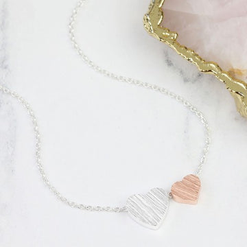 BRUSHED DOUBLE HEART NECKLACE | SILVER & ROSE GOLD