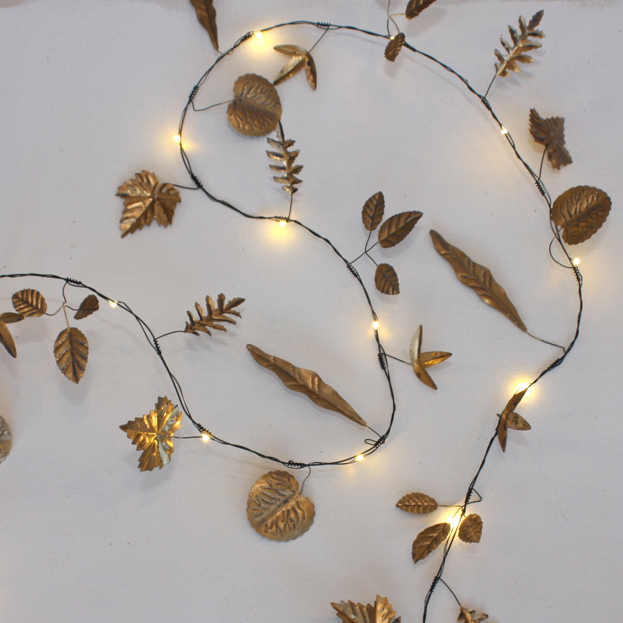 GOLD LEAVES WITH LED LIGHTS