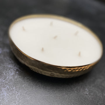SMALL 6 WICK SCENTED CANDLE IN HAMMERED GOLD BRASS DISH | BALSAM FOREST