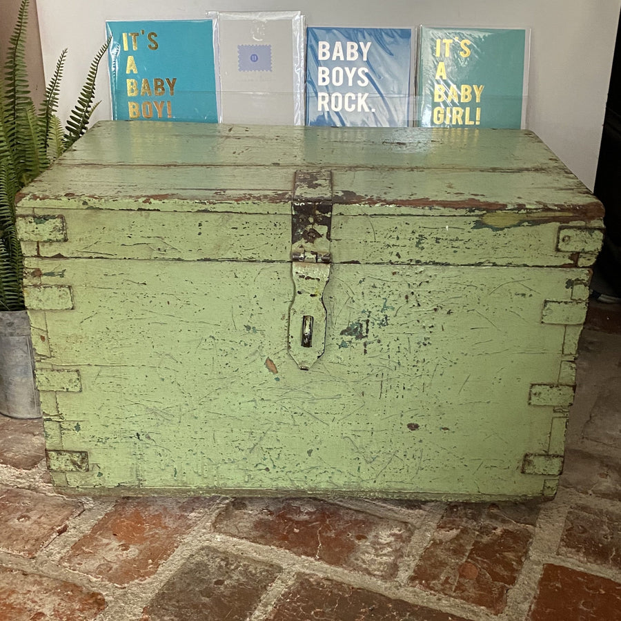PALE GREEN SMALL PAINTED CHEST