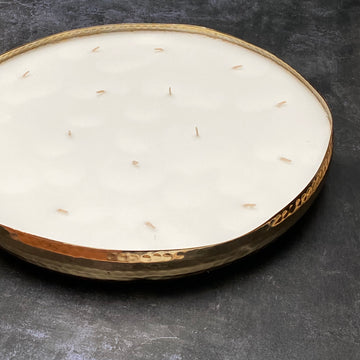 LARGE 16 WICK SCENTED CANDLE IN HAMMERED GOLD BRASS DISH | BALSAM FOREST