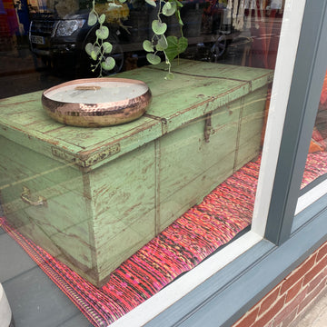 PALE GREEN LARGE PAINTED CHEST