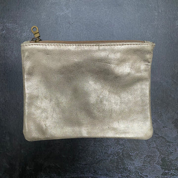 HANDCRAFTED FLAT LEATHER POUCH | LARGE