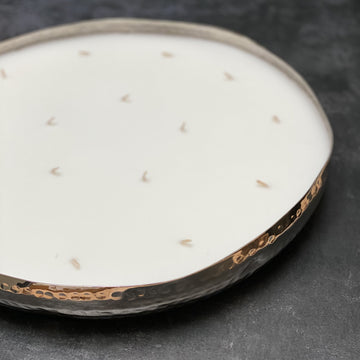 LARGE 16 WICK SCENTED CANDLE IN HAMMERED SILVER DISH | TUBEROSE