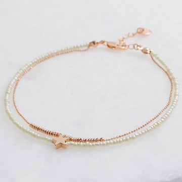 ROSE GOLD & NATURAL BEAD STAR ANKLET