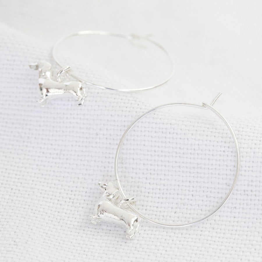 SAUSAGE DOG CHARM HOOP EARRINGS IN SILVER