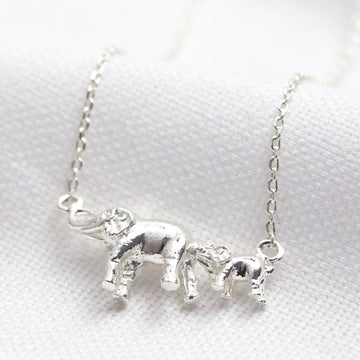 SILVER MOTHER & BABY ELEPHANT NECKLACE