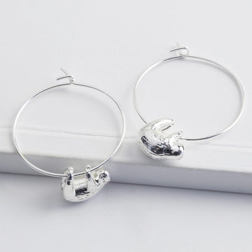 SILVER SLOTH HOOP EARRINGS