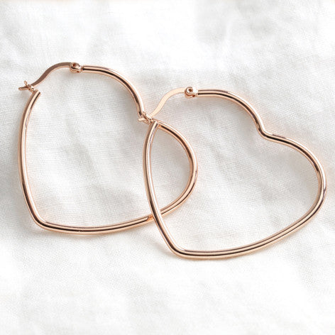 LARGE HEART HOOP EARRINGS