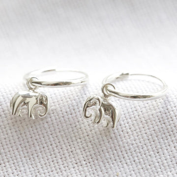 STERLING SILVER ELEPHANT CHARM HOOP EARRINGS