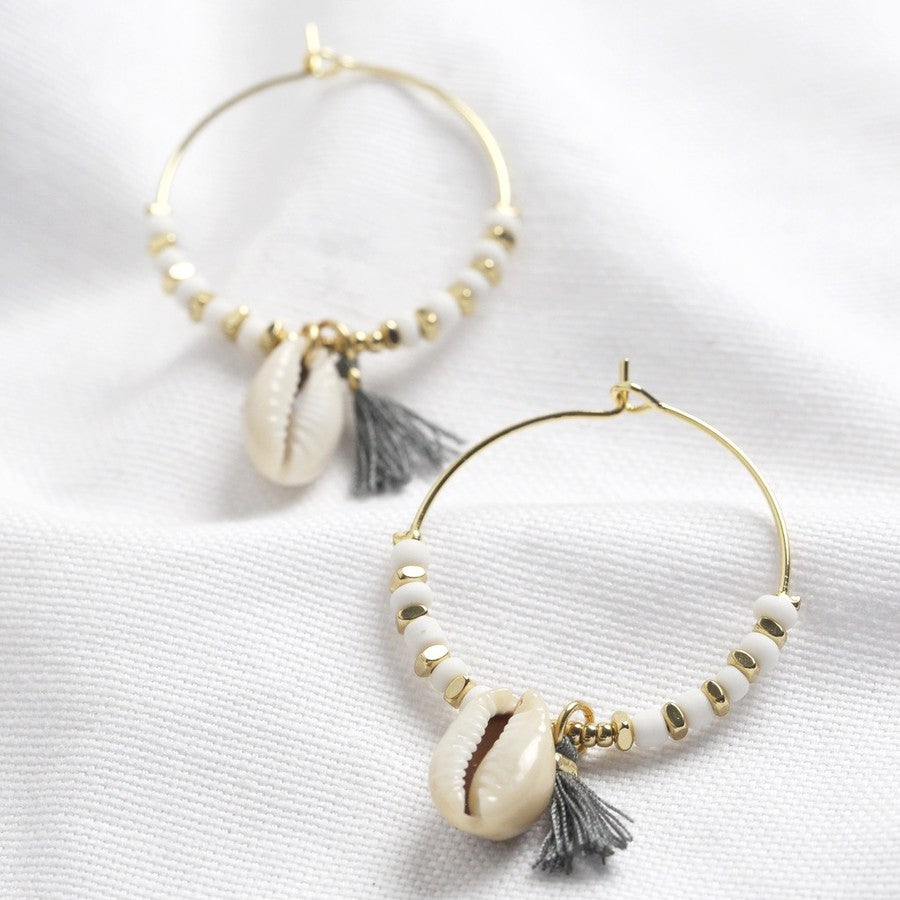 WHITE BEAD & SHELL HOOP EARRINGS
