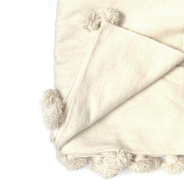 LARGE MOROCCAN IVORY WOOL BLANKET WITH POM POMS