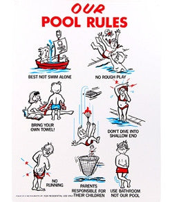 "Poolmaster ""Our Pool Rules"" 18"" X 24"" Sign- Kuwait Local shipping (1-3 Days)"