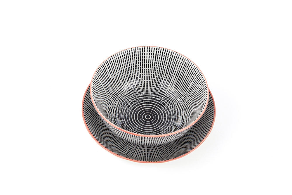 Asian printed ceramic bowl two pack set