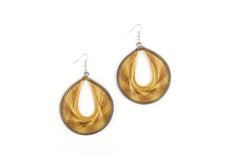 African silk yarn weaved earrings