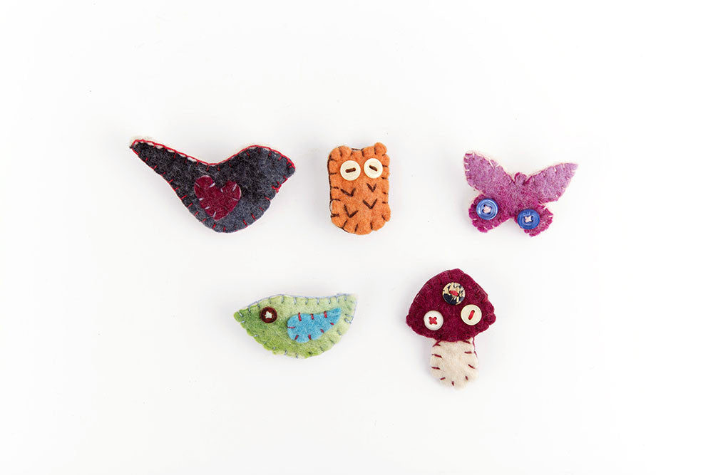 Felted animal broaches set