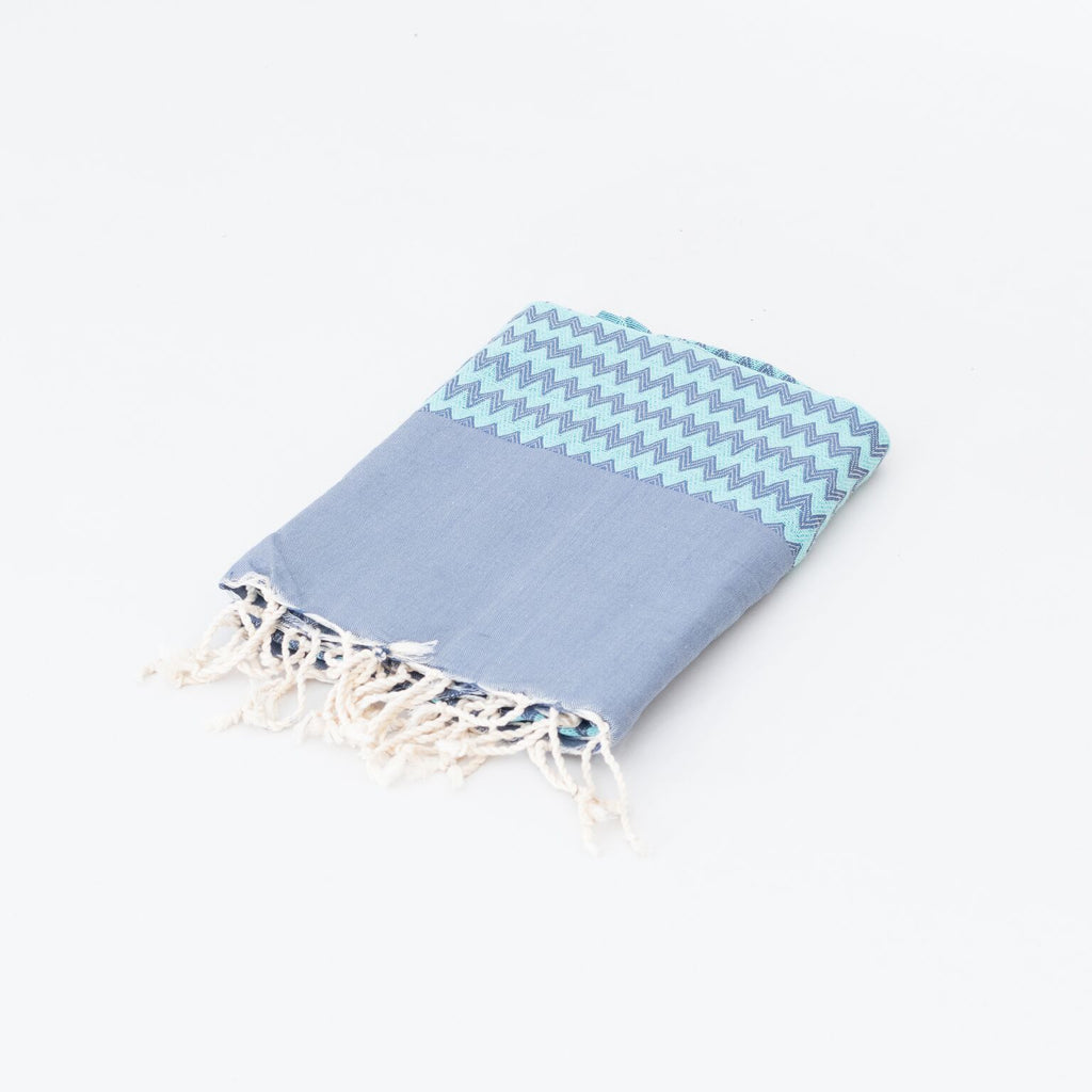 H A V E И - Cotton Fouta Zigzag Stone Wash (200x100) - Blue / Green