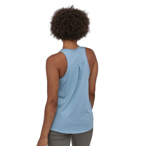 Patagonia - Women's Pastel P-6 Logo Organic High Neck Tank Top - Berlin Blue