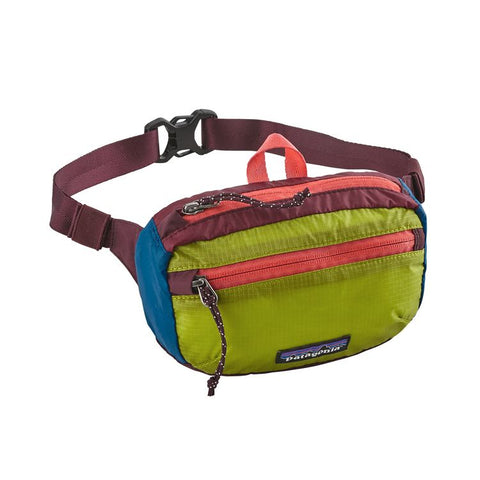 Patagonia - Lightweight Travel Mini Hip Pack 1L - Patchwork Light Gecko with Tomato
