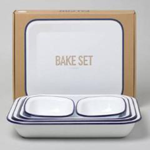 Bake Set - Original White with Blue Rim