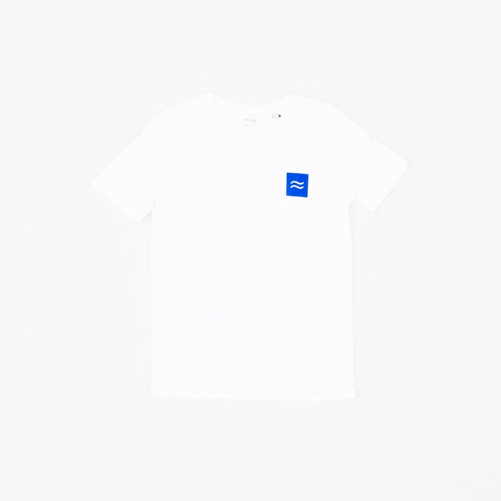 La Source Tee - White w/Blue print