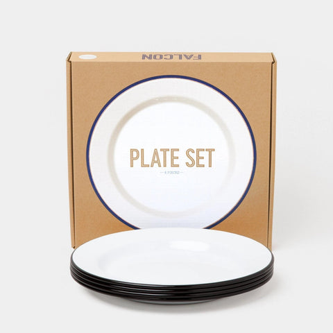 Falcon - Set of 4 Plates (24cm) - White/Black