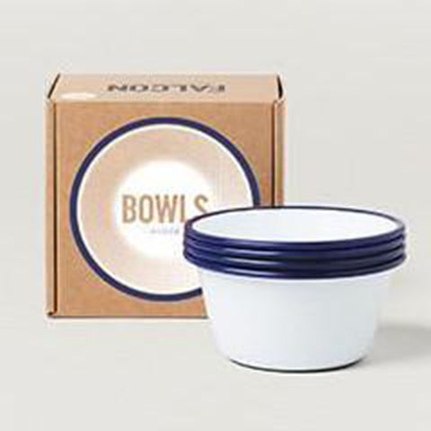 Bowls Set (4 x 12cm) - Original White with Blue Rim