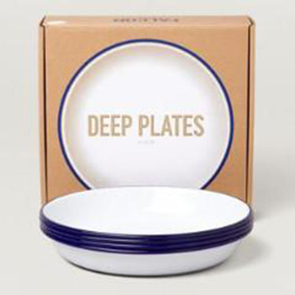 Deep Plates Set (4 x 22cm) - Original White with Blue Rim