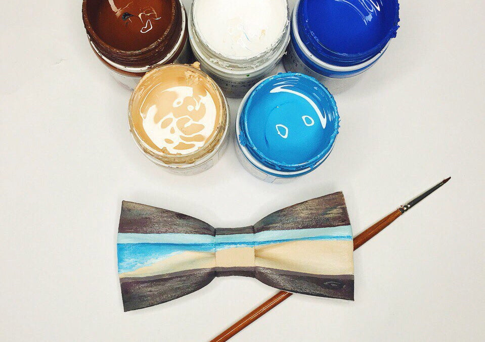 bow tie and acrylic paint