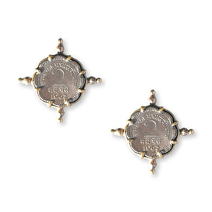 Coin Studs Earrings Chicory Chai