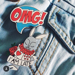 Late Bunny Pin Brooch Yes Please!