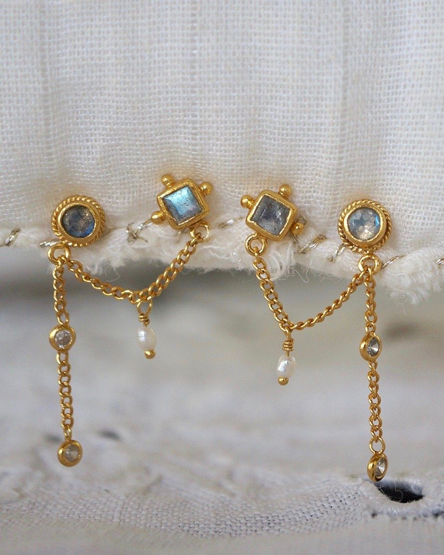Ocean Eyes Double Studs Earrings Monsieur Blonde Jewels