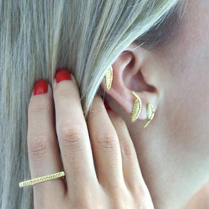 Palm Leaf Studs & Ear Cuff Earrings by Jasmin