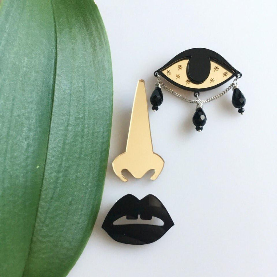 Surrealist Brooch Set Brooch Votre Perle Gold