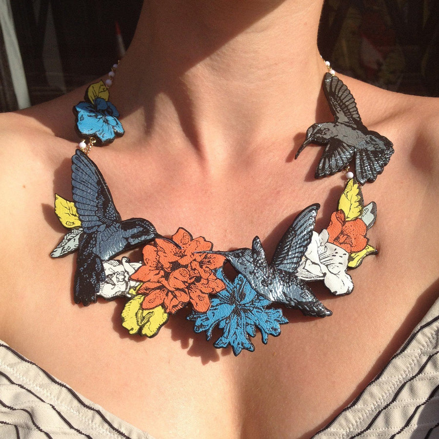Triple Hummingbird Necklace Necklace Rosita Bonita