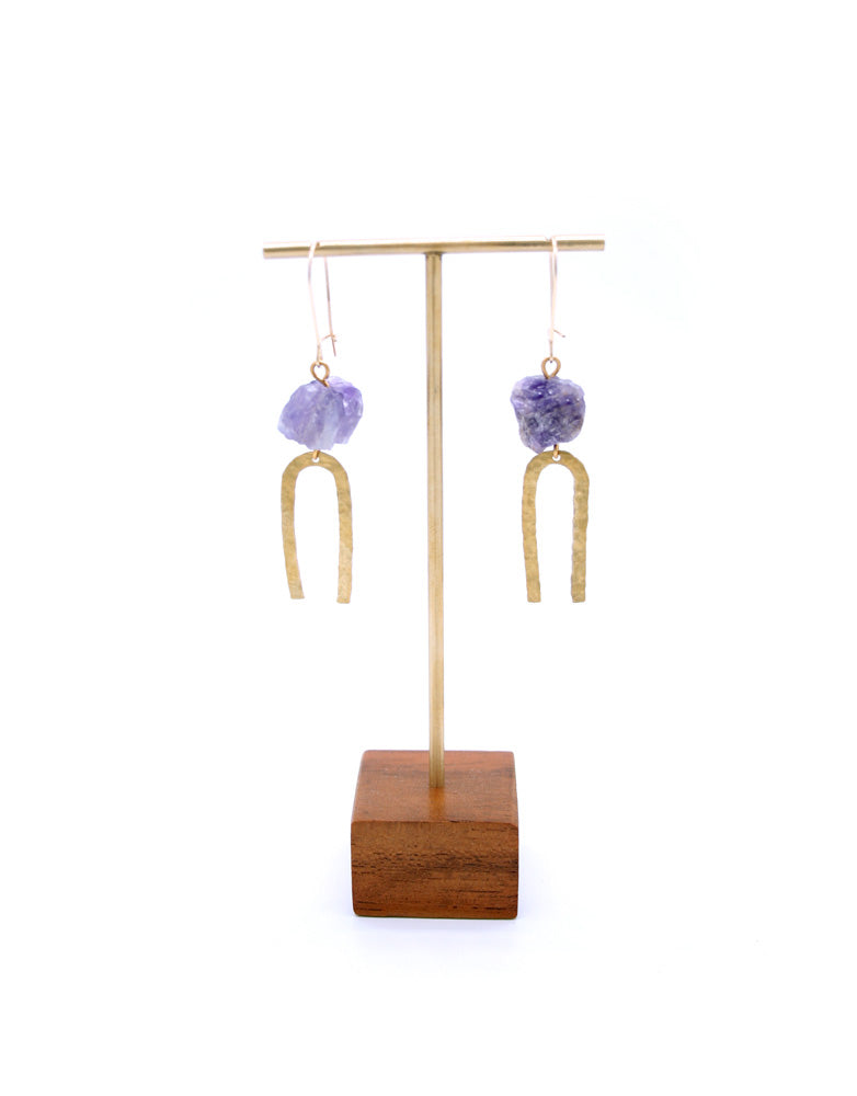 Amethyst Brass Arc Earrings