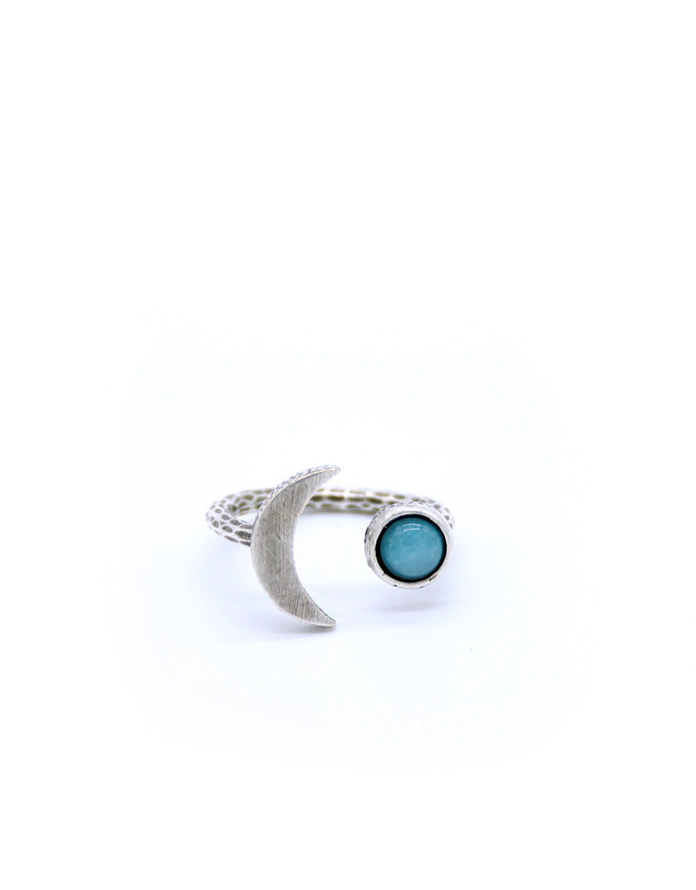 Moon & Stone Adjustable Ring