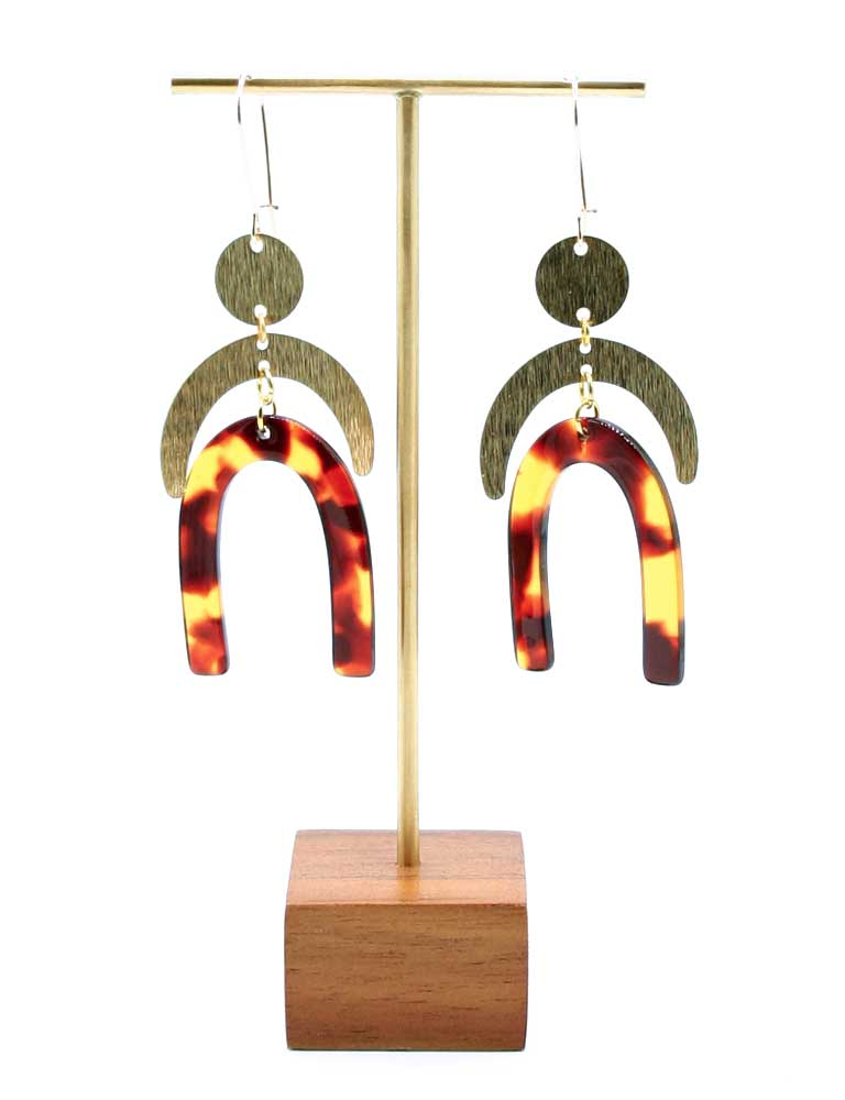 Double Arc Resin Tortoise Earrings