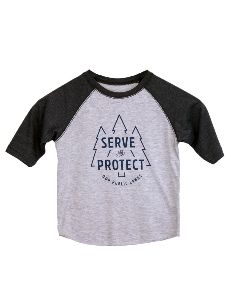 "Kid's ""Serve & Protect"" Baseball Tee"