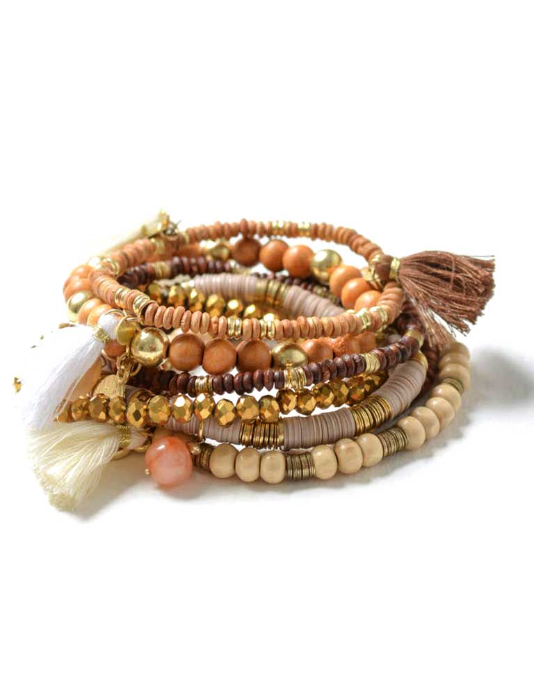 Dark Boho Beaded Stacking Bracelets