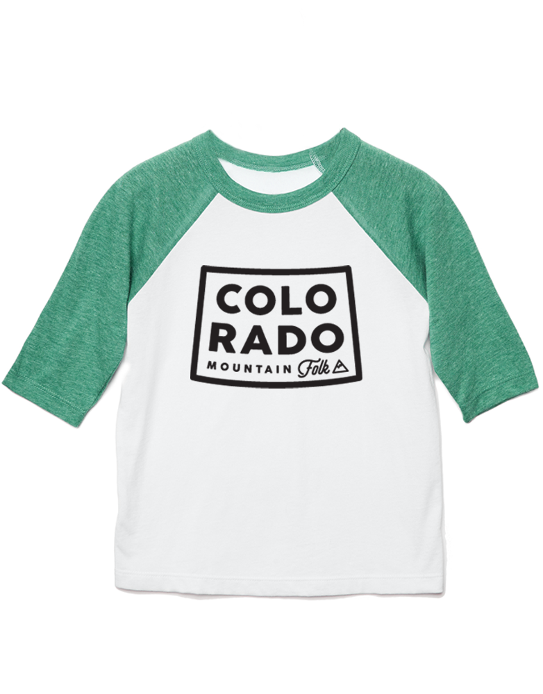 "Kids ""CO Mountain Folk"" Baseball Tee"