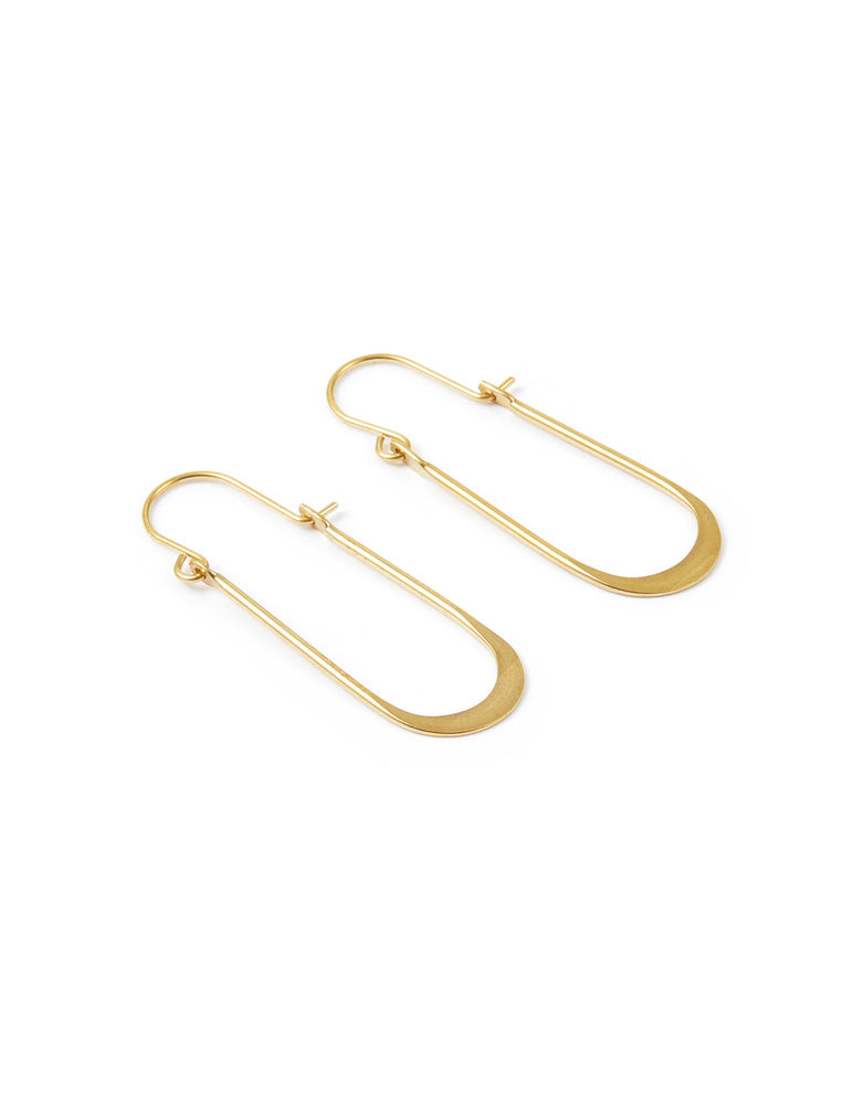 Oblong Wire Hoop Earrings