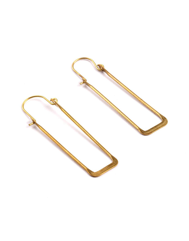 Rectangle Wire Hoop Earrings
