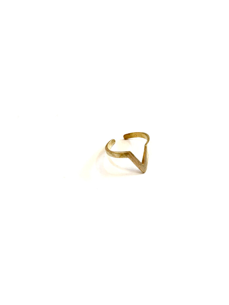 Chevron Brass Ring Thin