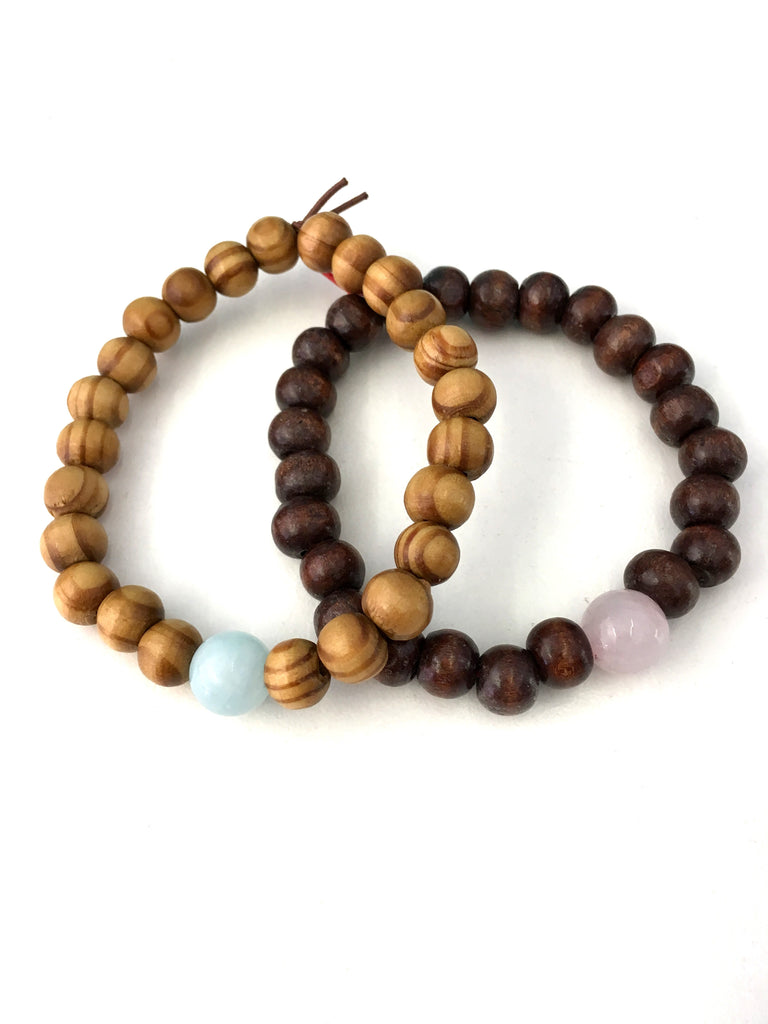 beaded wooden seven bead wood mix mandala mala rose chakra products tibet bracelet