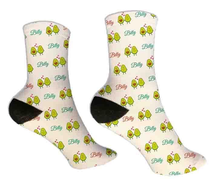 Avocado Personalized Valentine Socks - Potter's Printing