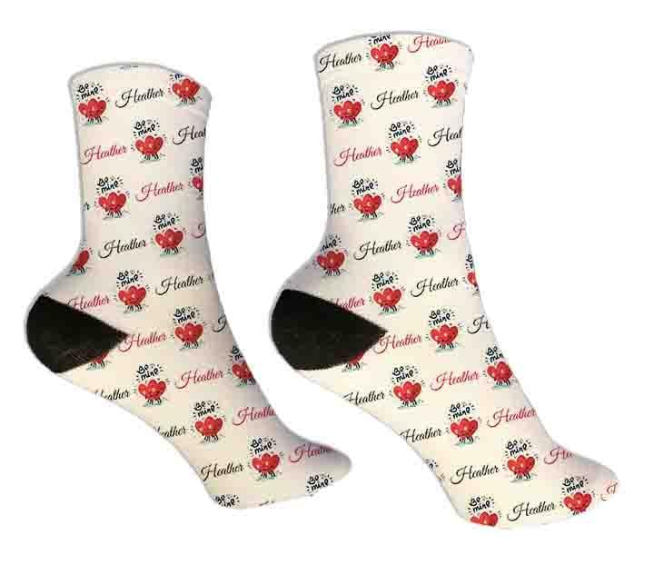 Be Mine Personalized Valentine Socks - Potter's Printing