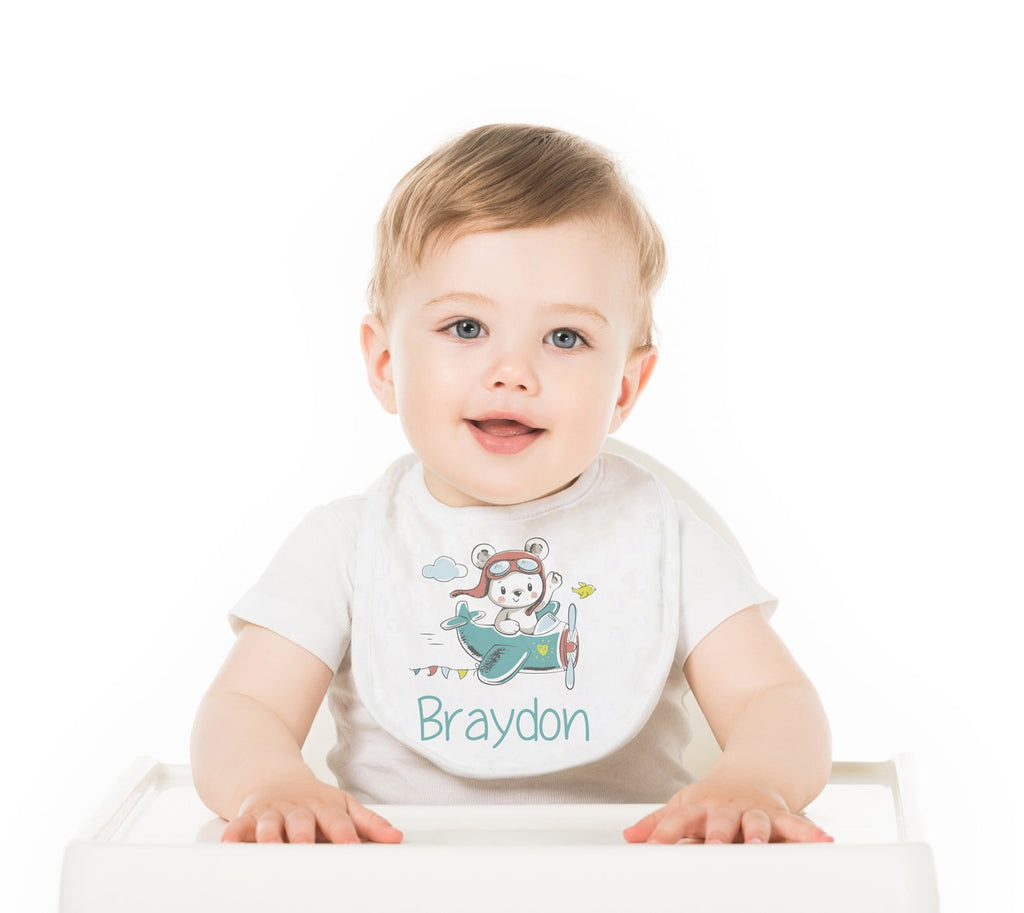 Flying Bear Personalized Baby Bib - Potter's Printing