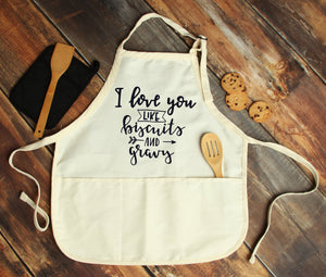 I Love You Like Biscuits & Gravy Personalized Apron - Potter's Printing