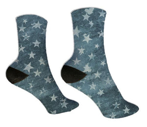 Blue Distressed Stars Socks - Potter's Printing
